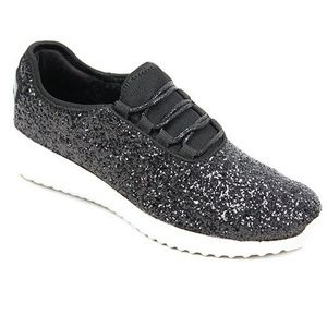 New Womens Black Glitter Sneakers Tennis shoes